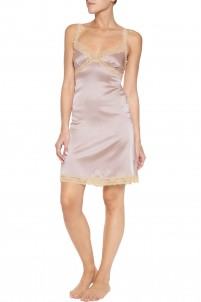 Cutout lace-trimmed stretch-silk satin chemise