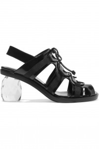 Glossed-leather sandals