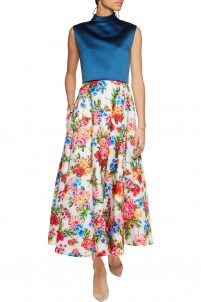 Eleanor pleated floral-print jacquard midi skirt