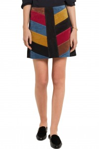 Chevron patchwork suede mini skirt