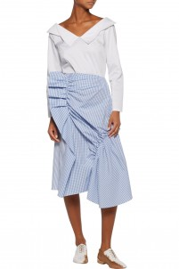 Gingham-ruffled striped cotton-poplin skirt