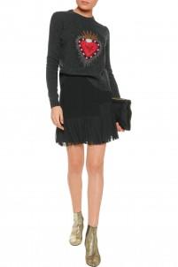 Aurora pleat-paneled crepe mini skirt