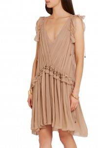 Ruffled silk-chiffon mini dress