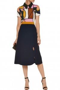Jeanne scalloped crepe skirt