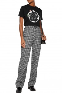 Houndstooth wool-blend straight-leg pants