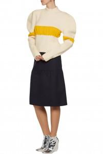 Ruffled bouclé turtleneck sweater