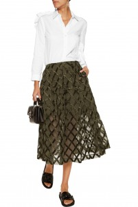 Pleated cloqué midi skirt