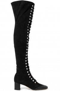 Naima lace-up leather-trimmed suede over-the-knee boots