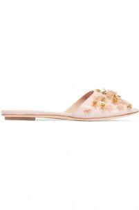 Embellished glossed-leather slides