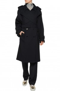 Wool-blend twill trench coat
