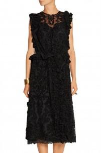 Chenille-appliquéd tulle dress