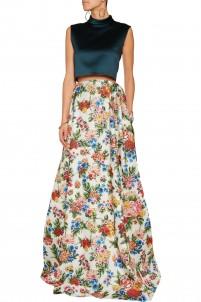 Poppy floral-print basketweave maxi skirt