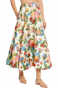 Eleanor floral-print basketweave maxi skirt