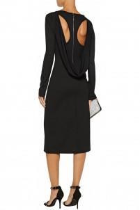 Cutout draped stretch-cady dress