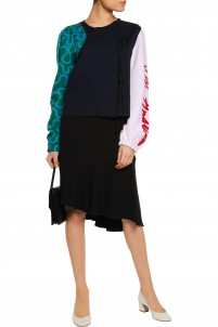 Patterned stretch wool-blend cardigan
