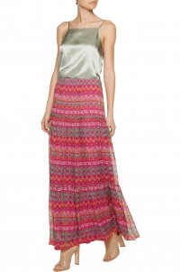 Baylee pleated printed silk maxi skirt