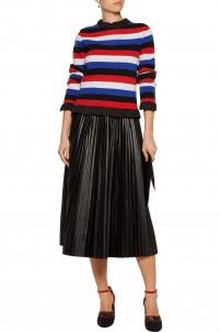 Ruffled striped bouclé sweater