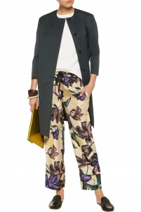 Printed silk straight-leg pants