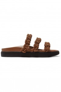 Macramé and leather slides