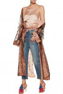 Appliquéd tulle and organza robe