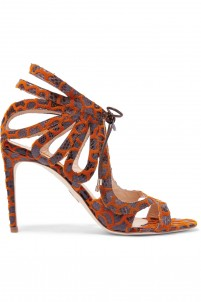Snake-effect leather and chenille sandals