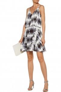 Printed washed-silk mini dress