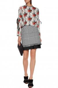 Phoebe houndstooth cotton mini skirt