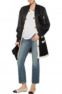 Paneled wool-blend and gabardine coat