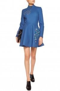 Embellished wool-felt mini dress
