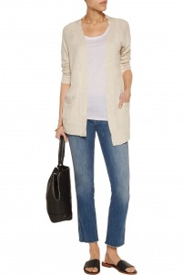 Cotton and cashmere-blend jersey cardigan