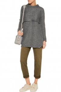 Layered ribbed-knit sweater