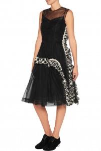 Embellished tweed-trimmed tulle dress