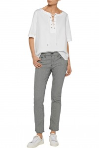 Tomboy low-rise pinstriped straight-leg jeans