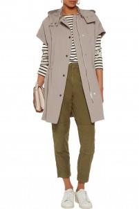 Hooded cotton-blend gabardine jacket
