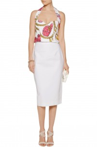 Cropped printed cotton-terry halterneck top