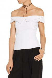 William off-the-shoulder stretch tech-jersey top