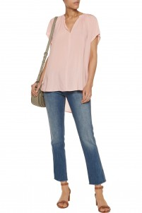 Pleated voile top
