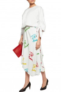 Asymmetric printed stretch-crepe midi skirt