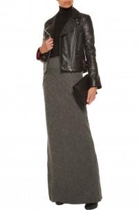 Wool-blend bouclé maxi skirt