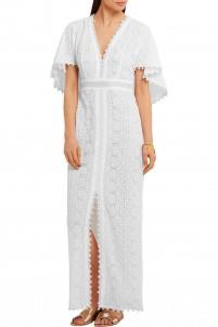 Cape-back silk-macramé lace maxi dress