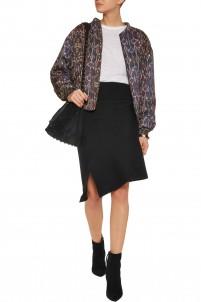 Lyle asymmetric riibbed-knit skirt