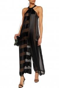Azure paneled silk-chiffon and silk-satin jumpsuit