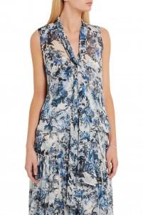 Risa floral-print silk-georgette top