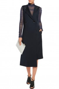 Wrap-effect asymmetric crepe midi dress