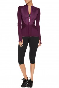Neoprene and stretch-knit jacket