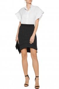 Dasha asymmetric textured stretch-knit skirt