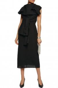 Draped wool midi dress