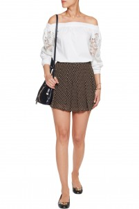 Perrin pleated polka-dot crepe shorts