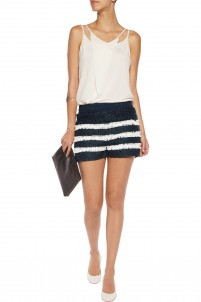 Striped cotton-blend guipure lace shorts