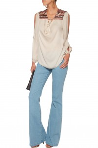 Embellished cutout silk-chiffon blouse